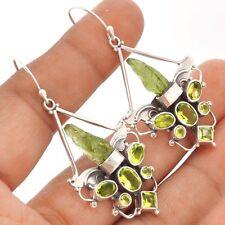 Moldavite & Peridot Angel Wings Silver Earrings  SE91043