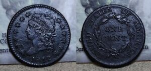 1812 Classic Head Large Cent 1c Great Details Environmental Damage