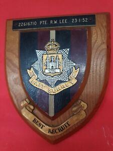 Vintage EAST SURREY REGIMENT plaque shield Best Recruit. Pte R W Lee 23.1.52