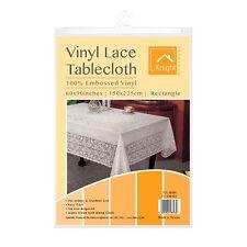 "60 x 90"" White Table Cover Vinyl Plastic Embossed Tablecloth Rectangular HLU"