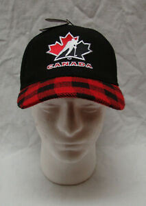 Team Canada Fan National Gertex Hockey Flex Hat with Wool Black Plaid Ball Cap