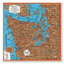 BIG Hysterical Map of Olympic Peninsula & Puget Sound circa 1934 Seattle 24x24