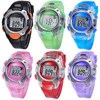 Mens Multifunction Electronic Watch Womens PVC Band Sport Waterproof Wrist Watch