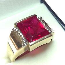 Deco Gold Faux Ruby Men's Ring Size 10 1/2 (J525)