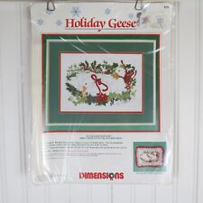 """Dimensions 8395 Holiday Geese No Count Cross Stitch Kit 14""""x10"""" Linda K. Powell"""