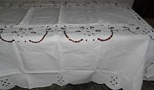 "72 x 126"" Oblong Table cloth with Embroidery, Cutwork and 12 Napkins-2402"