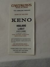 Vintage CASTAWAYS HOTEL & CASINO KENO guide Las Vegas Nevada heart of the strip