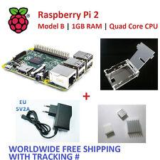 RASPBERRY PI 2 - 1GB RAM Quad Core + Case + Heatsinkx3 + EU Power Supply