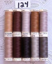 10 brown colors GUTERMANN 100% polyester sew-all thread 110 yard Spools (#124)