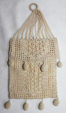 ECRU CROCHET LACE BAG WITH RING HANDLE, TOP FLAP & 8 BAUBLES AND YELLOW LINING