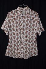 Vtg Wrangler Floral Womens Snap Button Western Shirt Short Sleeved Size 38