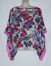 JOAN RIVERS – CAFTAN TOP – BRIGHT FLORAL – PINK - RED - PURPLE – XL - NEW $68