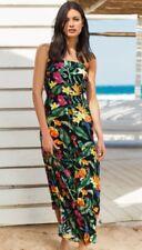 NEXT BLACK FLORAL PRINT BANDEAU STRAPLESS MAXI DRESS SIZE 10 PETITE BNWT