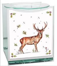 Glass Festive Stag Tea Light Fragrance Oil Burner Christmas Decoration Gift