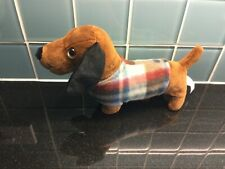 Funky Friends Brown Sausage Dog Soft Toy Tartan Jacket Exc Cond Child Toy Gift