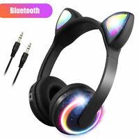 For kids Cat Ear Bluetooth Headphones Audio Wireless LED Mic Stereo headset gift