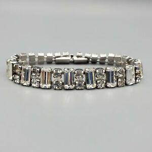"Vintage Chaton & Baguette Clear Prong Set Rhinestone Rhodium Plated Bracelet 7"""