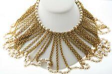 Vintage Miriam Haskell Silver Baroque Faux Pearl Choker Collar Bib Necklace