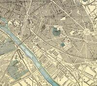 1900 Antique PARIS FRANCE Street Map of Paris City Map Gallery Wall Art 6859