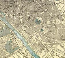 1900 Antique PARIS FRANCE Map 1800s Map of Paris City Map Gallery Wall Art 6859