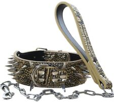 Spiked Studded Dog Collar Leather Dog Collar & Chain Leash set Pit Bull Terrier