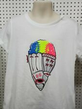 Girls Kids Youth Under Armour Shirt Short Sleeve White Baseball snowcone Small