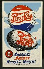 "Dollhouse Miniatures Metal Sign Advertising Zeppelin PEPSI COLA 1 5/8"" x 2 3/4"""