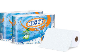 15 Nicky Elite Kitchen Rolls White 3 Ply individually packed (5 x 3 roll )