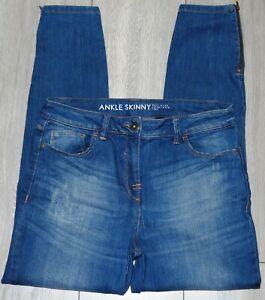 Womens🦋NEXT🦋blue stretch ankle zip skinny denim jeans size 12