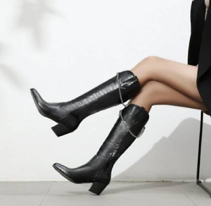 Women's Punk Leather Mid Calf Boots Block Heels Pointed Toe Shoes Knight Booties