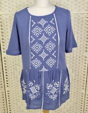 TU Blue Tunic Top 10 Peasant Hippy Boho Summer Embroidered Ethnic Festival
