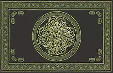 Handmade Cotton Celtic Circle Wheel Of Life Tapestry Spread Twin Green Black