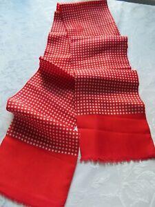 Men's elegant vintage silk scarf in scarlet with white polka dots & neat fringe