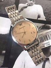 NWT Emporio Armani AR1881 Men's Silver Round Beta Classic Watch Quartz Date