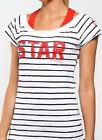 100% Cotton Lorna Jane Star Player Yoga Sport top Tee strip T-shirts XS S M L