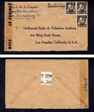 Censored Air Mail January 3 1945 Pietersberg South Africa to USA, #89, #89b
