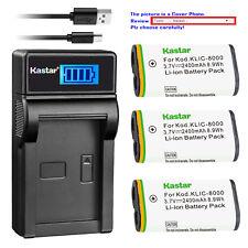 Kastar Battery LCD Charger for Kodak KLIC-8000 & Kodak Z885 Kodak Z1012 IS