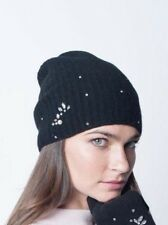 Portolano 100% CASHMERE Womens Hat Rapper Slouchy Crystals Pearls Black