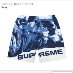 Supreme Racing Water Shorts Swim Trunks Suit Navy Large L Board Shorts Mens New