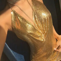 UK Stunning Sequin Metal Mesh Backless Crystal Chain Choker Halter Neck Dress