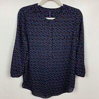NYDJ blouse sz S P Petite Sm shirt top black blue 3/4 sleeve button down
