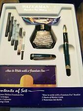 Waterman Phileas Fountain Pen NOS, green/marble GT, box, converter, rare. Look