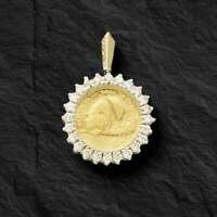 24K FINE GOLD 1/10 OZ CHINESE PANDA COIN WITH .50 TCW DIAMONDS-14K FRAME PENDANT