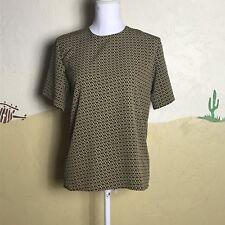 Liz Baker Essentials Womens Size Small Tan Black Short Sleeve High Neck Top