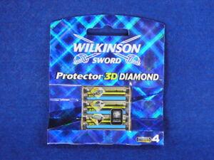 WILKINSON SWORD PROTECTOR 3D DIAMOND 4 X RASIERKLINGEN RAZORBLADES SELTEN RARE !