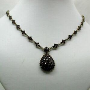 Antique Beautiful Gilded Silver And Bohemian Garnet Necklace