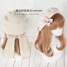 Girls Lolita Lops Ear Beret Handmade Beige Wool Blend Rabbit Bow Hats Beanies
