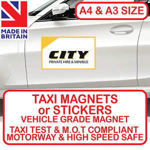 TAXI MAGNETIC SIGNS OR STICKERS PRIVATE HIRE CAB BUSINESS MINIBUS COLOUR PRINTED