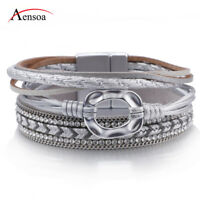 New Women Chain Crystal Silver Multi-layer Leather Bangle Wrap Bracelets Jewelry