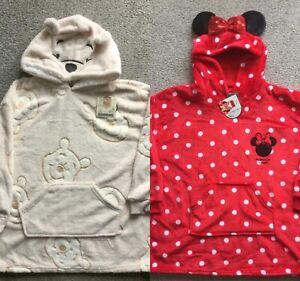 BNWT Official Disney Winnie Pooh Minnie Girls Kids Fleece Hooded Snuddie Oodie